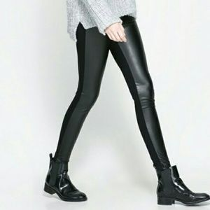 Zara vegan leather front leggings